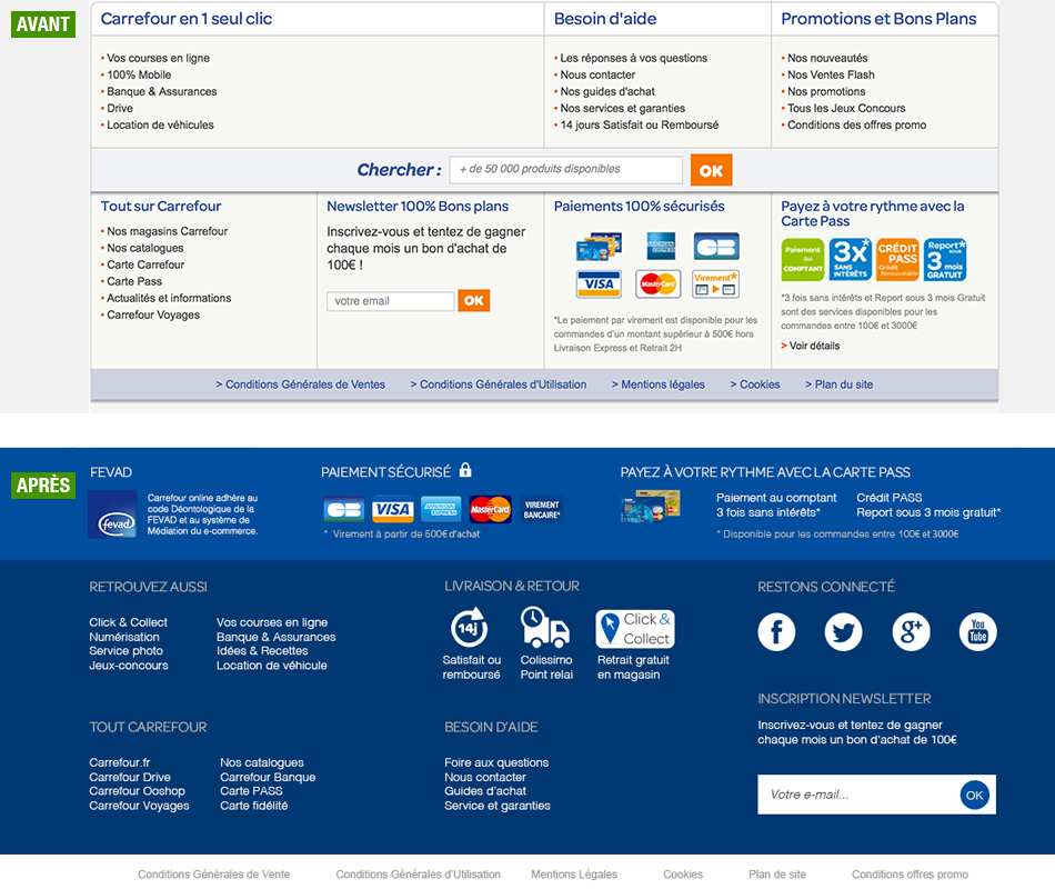 Footer Carrefour online - refonte graphique